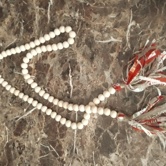 White decorative beads